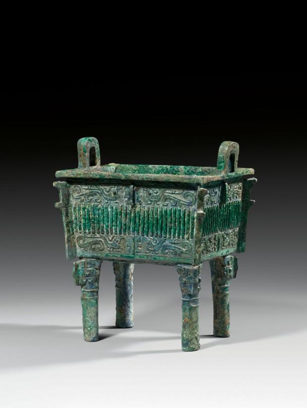 An Archaic Bronze Ritual Food Vessel (Fang Ding)