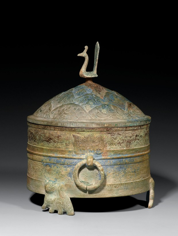 A Large Archaic Bronze Covered Vessel (Zun)