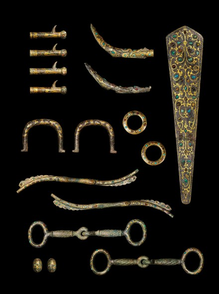 Elements From a Set of Inlaid Bronze Chariot Fittings and Horse Trappings