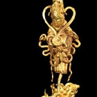 TWO FIGURAL GOLD HAIR ORNAMENTS