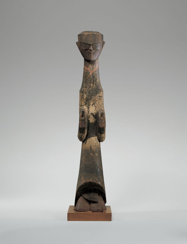 A LACQUER-PAINTED WOOD TOMB FIGURE