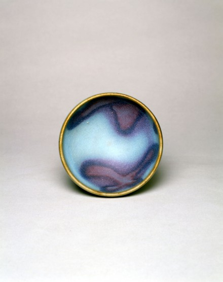 A PURPLE-SPLASHED BLUE JUNYAO 'BUBBLE BOWL'