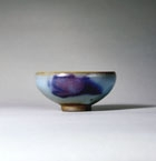 A PURPLE-SPLASHED BLUE JUNYAO 'BUBBLE BOWL'
