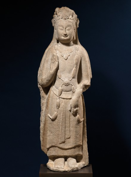 A SANDSTONE STANDING FIGURE OF A BODHISATTVA