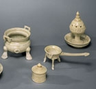 A SET OF GLAZED STONEWARE MINIATURE TOMB FURNITURE
