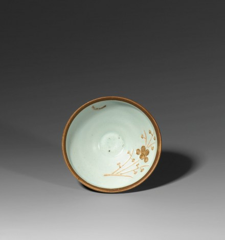 A JIANGXI BAISHE PORCELAIN 'MOON AND PRUNUS' CONICAL TEA BOWL