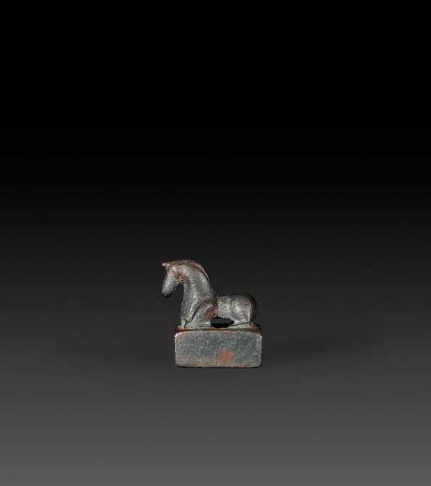 A BRONZE SEAL WITH KNEELING HORSE KNOB