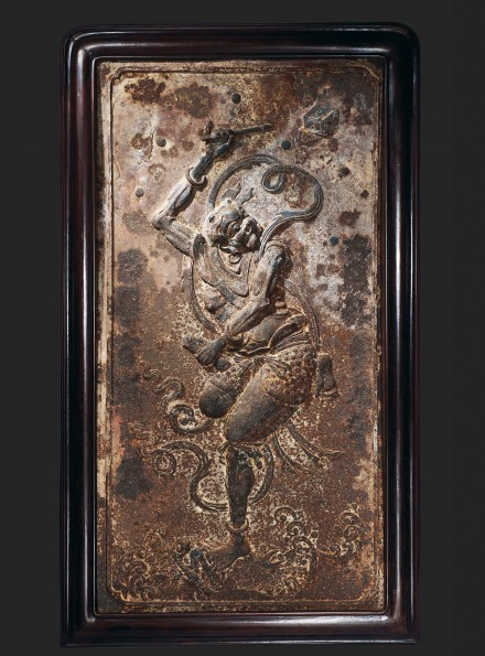 A LARGE CAST IRON RELIEF PANEL OF KUI XING