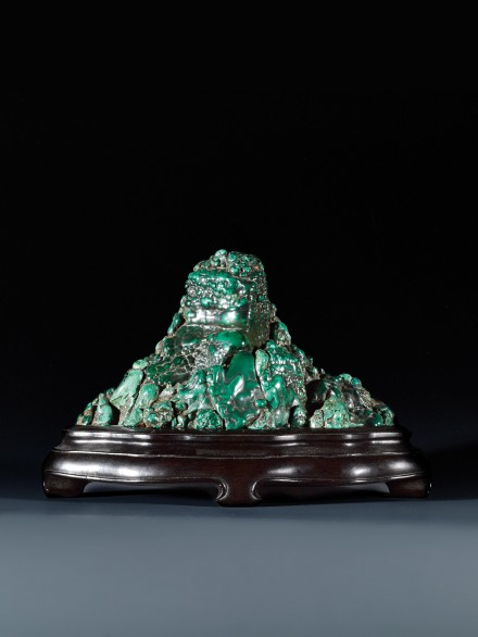 A MALACHITE MOUNTAIN-FORM SCHOLAR'S ROCK