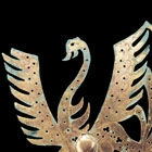 A LARGE GILT BRONZE PHOENIX PLAQUE