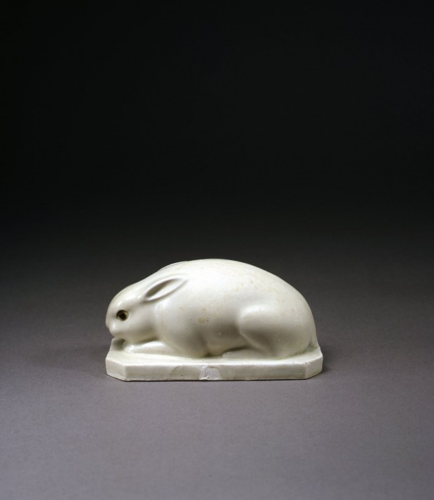 A WHITE PORCELAIN FIGURE OF A RABBIT
