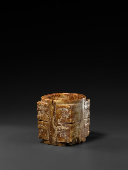 A NEOLITHIC RUSSET-BROWN AND YELLOW JADE CONG