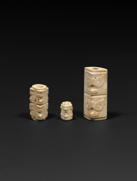 THREE NEOLITHIC JADE CONG FORM BEADS