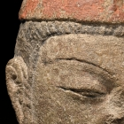 A PAINTED SANDSTONE HEAD OF VIMALAKIRTI (WEI MO)