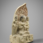 AN INSCRIBED STONE BUDDHIST TRIAD