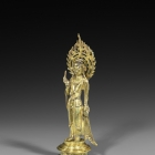 A GILT BRONZE FIGURE OF AVALOKITESVARA