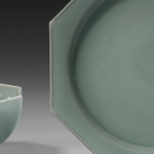 A LONGQUAN CELADON OCTAGONAL DISH AND MATCHING BOWL