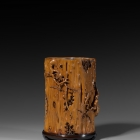 A CARVED BOXWOOD BRUSH POT
