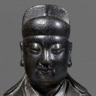 A SILVER-INLAID BRONZE FIGURE OF WEN CHANG